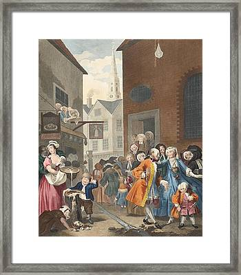Times Of The Day Noon, Illustration Framed Print by William Hogarth