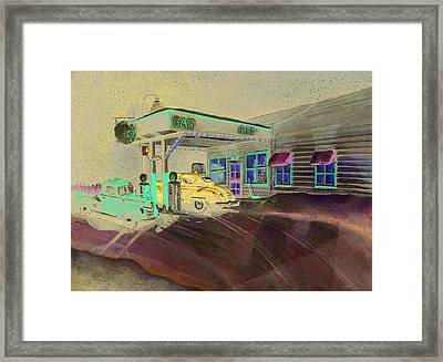 Times Past Gas Station Framed Print by Rick Huotari