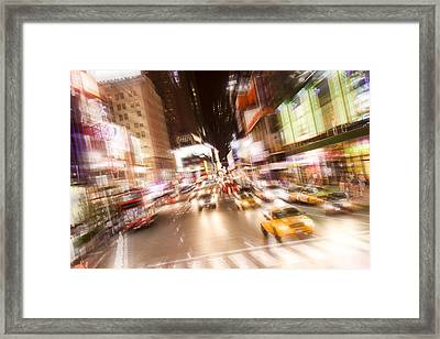 Times Square At Night Framed Print by Erin Cadigan