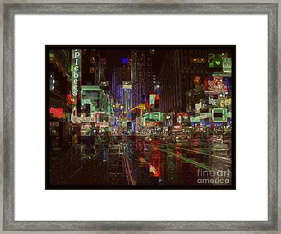 Times Square At Night - After The Rain Framed Print by Miriam Danar