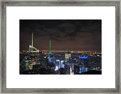 Times Square At Night Framed Print by Robert  Moss