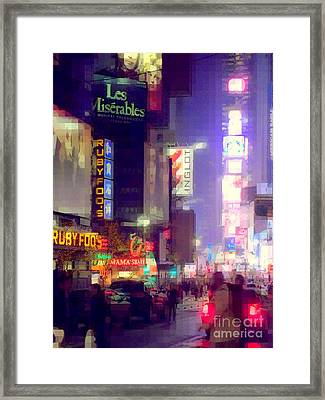 Times Square At Night - Columns Of Light Framed Print by Miriam Danar