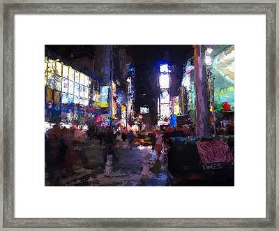 Times Square By Night Framed Print by Steve K
