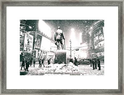 Times Square In The Snow - New York City Framed Print