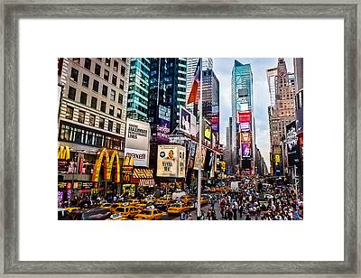 Times Square In Twilight Framed Print by Ellie Teramoto