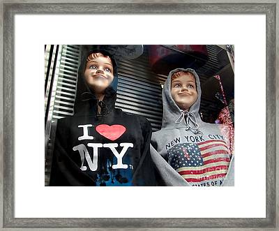 Times Square Kids Framed Print by Ed Weidman