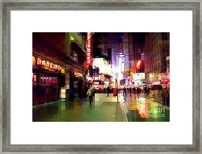 Times Square New York - Nanking Restaurant Framed Print by Miriam Danar