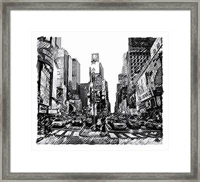 Times Square   New York City Framed Print by Iconic Images Art Gallery David Pucciarelli