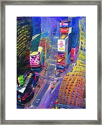 Times Square Nyc Framed Print by Bud Anderson