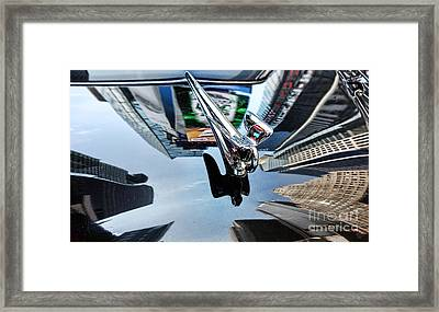 Times Square On The Hood Of A Packard Framed Print
