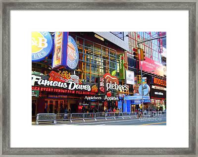 Times Square Razzle Dazzle Framed Print by Anne Gordon