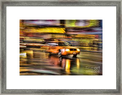 Times Square Taxi I Framed Print by Clarence Holmes