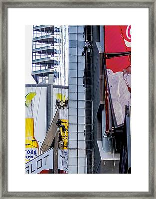 Times Square Window Washers Framed Print