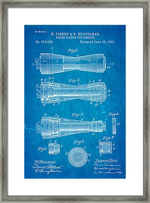 Timken Roller Bearing Patent Art 1898 Blueprint Framed Print