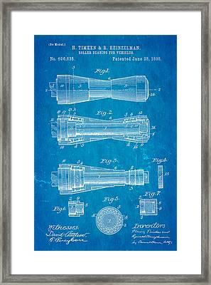 Timken Roller Bearing Patent Art 1898 Blueprint Framed Print by Ian Monk