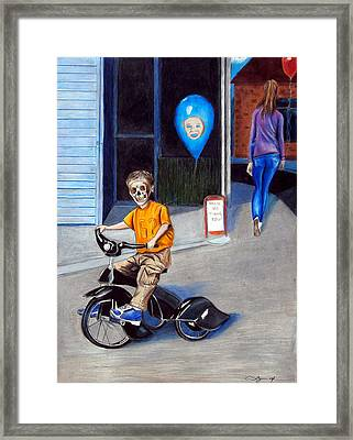 Timmy's New Tricycle Framed Print