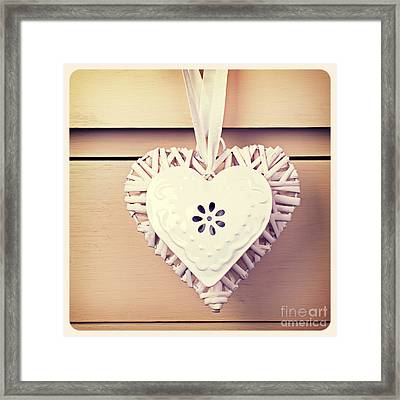 Tin  And Wicker Heart Retro Framed Print by Jane Rix