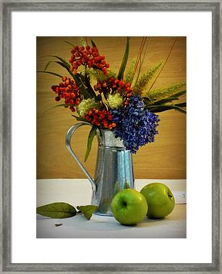 Tin Bouquet And Green Apples Framed Print by Deborah  Crew-Johnson