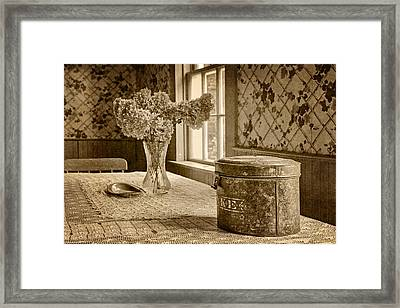 Tin Box And Dried Hydrangea -vintage Interior - Sepia Framed Print by Nikolyn McDonald