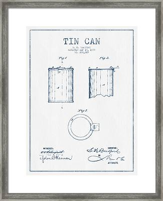 Tin Can Patent Drawing From 1878 - Blue Ink Framed Print by Aged Pixel