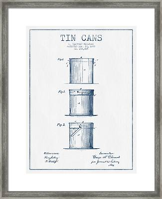 Tin Cans Patent Drawing From 1878 - Blue Ink Framed Print by Aged Pixel