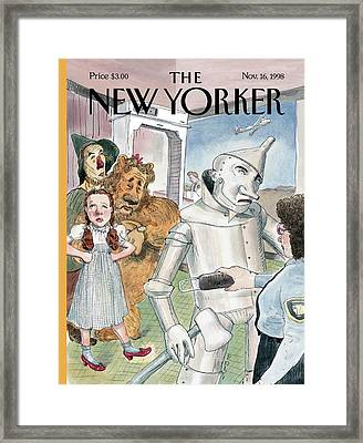 Tin Man Stopped By Security At The Airport Framed Print by Barry Blitt