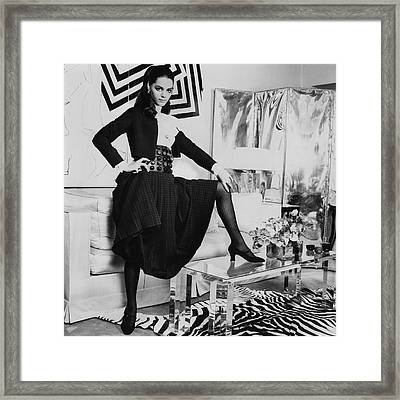 Tina Aumont In A Living Room Framed Print