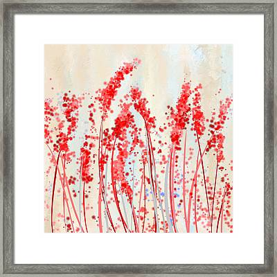 Tinge Of Passion- Cream And Red Art Framed Print by Lourry Legarde