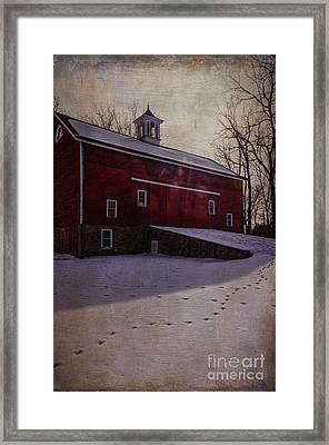 Framed Print featuring the photograph Tinicum Barn In Winter by Debra Fedchin