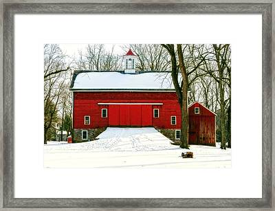Tinicum Barn In Winter II Framed Print by Debra Fedchin