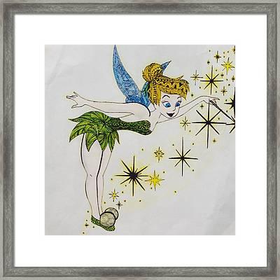 Tinker Bell Zentangle Framed Print by Eleni Pessemier