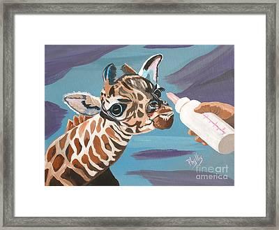 Tiny Baby Giraffe With Bottle Framed Print