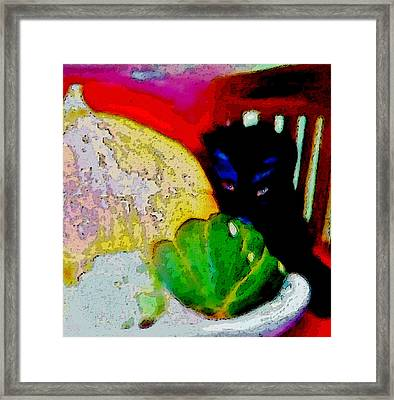 Framed Print featuring the painting Tiny Black Kitten by Lisa Kaiser