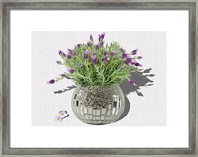 Tiny Purple Flowers Framed Print by Manik