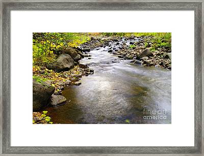 Tiny Rapids At The Bend  Framed Print by Jeff Swan