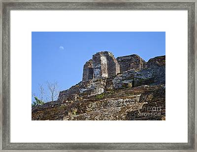 Tip Of Pyramid At Comalcalco Framed Print by Ellen Thane