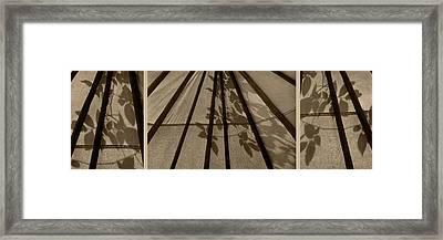 Tipi With Leaf Shadows - Triptych Framed Print by Nikolyn McDonald