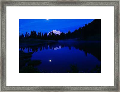 Tipoe Lake And Mount Rainer Framed Print by Jeff Swan
