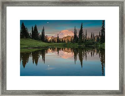 Tipsoo Lake Mt. Rainier Washington Framed Print by Larry Marshall