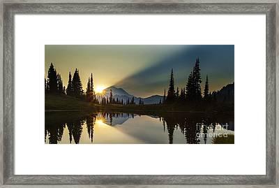 Tipsoo Rainier Sunstar Framed Print by Mike Reid