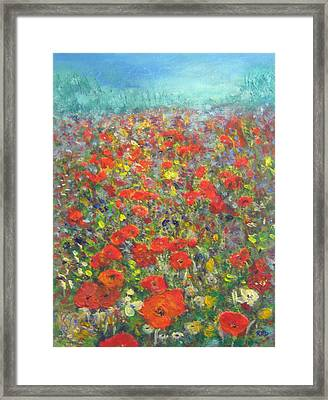 Tiptoe Through A Poppy Field Framed Print