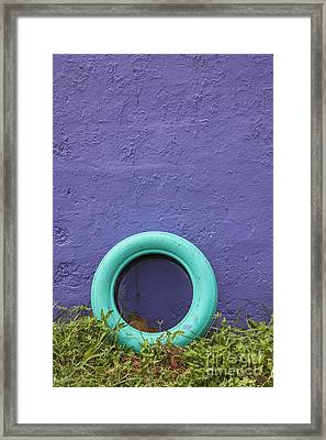 Framed Print featuring the photograph Tire Painted In Bright Color Leaning Against Wall In San Juan Pue by Bryan Mullennix