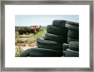 Tire Pile At A Junk Yard, Cuervo, New Framed Print