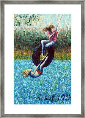 Tire Swing Framed Print by Ned Shuchter
