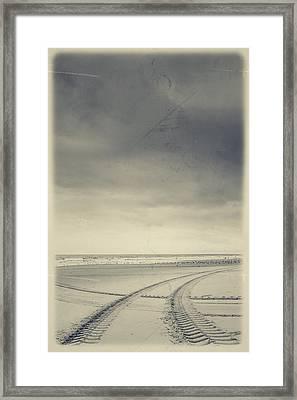 Tire Tracks On The Beach Framed Print