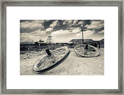 Tire With Desert Queen Hoist House Framed Print by Panoramic Images