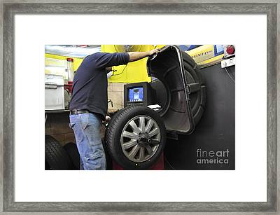 Tire Workshop And Garage Framed Print by PhotoStock-Israel