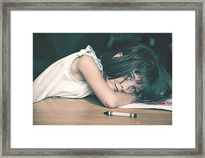 Tired Girl By Jan Marvin Framed Print