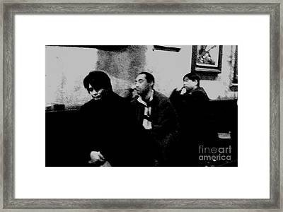 Tired Travelers Monochrome Framed Print by Alex Theofanous