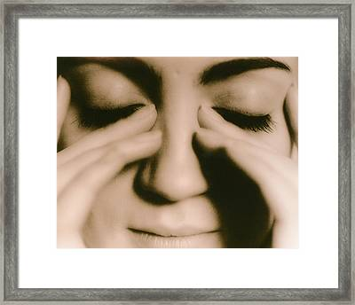 Tired Woman Framed Print by Cristina Pedrazzini/science Photo Library